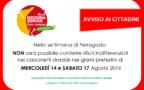 Nella settimana di Ferragosto, NON sarà possibile conferire rifiuti indifferenziati nei cassonetti stradali nei giorni prefestivi di  MERCOLEDÌ 14 e SABATO 17 Agosto 2019